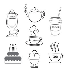 a cup of hot coffee tea and dessert vector image