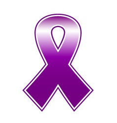 Breast cancer purple ribbon isolated on white vector image