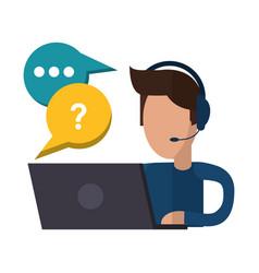 call center man talking laptop vector image