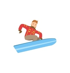 Guy jumping on snowboard winter sports vector