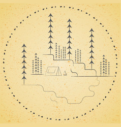 mountains and a christmas tree hand-drawn vector image