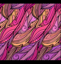 seamless texture with pink feathers with doodle vector image vector image