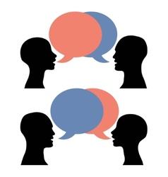 silhouette men women talking vector image vector image