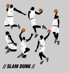 slam dunk pose collection vector image vector image