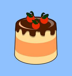 small delicious cream cake with chocolate glaze vector image