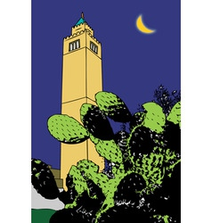 cactus and minaret tunis vector image vector image