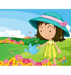 girl in park vector image