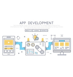 Mobile app construction smartphone vector image vector image