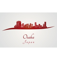 Osaka skyline in red vector image vector image