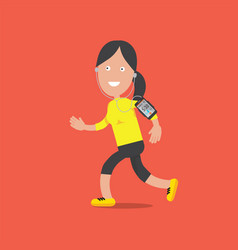 smiling female character standing and running vector image vector image
