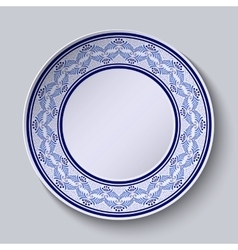 Decorative plate with painted blue floral pattern vector image