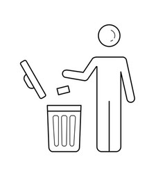 man throwing garbage in trash bin line icon vector image vector image