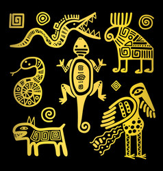 mexican culture golden tribal signs vector image