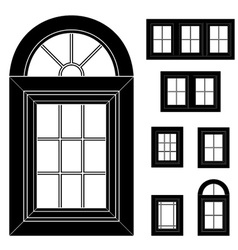 plastic window black icons vector image vector image