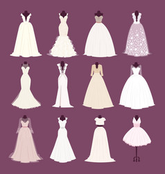 wedding bride dress different edsign vector image vector image