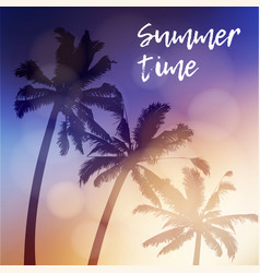 summer time greeting card invitation silhouette vector image vector image