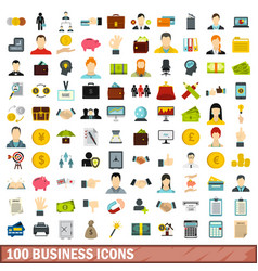 100 business icons set flat style vector