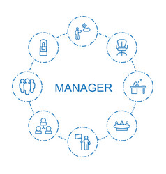 8 manager icons vector