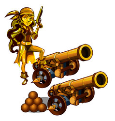 A set statues a girl pirate made gold vector
