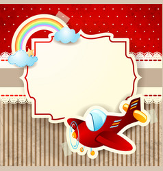 airplane and rainbow on cardboard background vector image