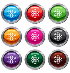 atom with electrons set 9 collection vector image