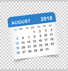 august 2018 calendar calendar sticker design vector image