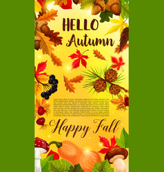 Autumn falling leaf september forest banner vector