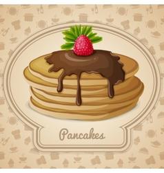 Baked pancakes emblem vector image