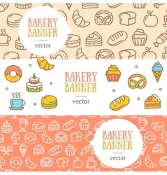 Bakery Banner Flyer Horizontal Set vector image