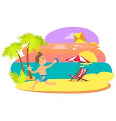 boy kid having fun summertime vacations sunset vector image