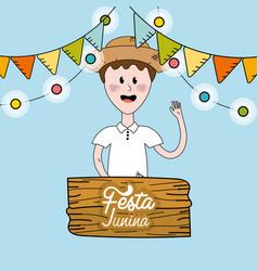 Brazilian man celebrating festa junina vector