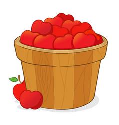 Bucket full of red apples vector