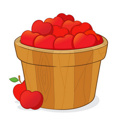 Bucket full red apples vector