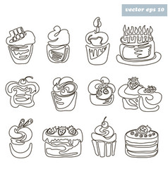 Cakes outlined vector