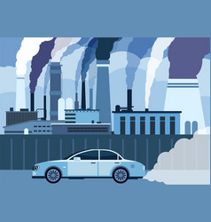 Car air pollution city road smog toxic air vector