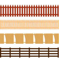 cartoon color wooden fence seamless pattern vector image