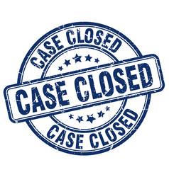 case closed blue grunge round vintage rubber stamp vector image
