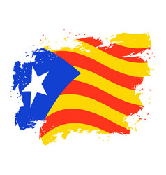 catalonia flag grunge style brush and drops vector image