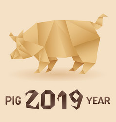 Chinese new year 2019 pig origami vector