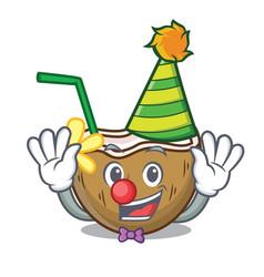 clown cocktail coconut mascot cartoon vector image