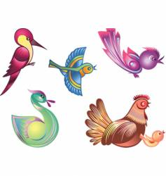color birds vector image