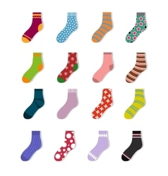 Colorful cute child socks icons Sock set isolated vector