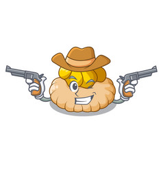 Cowboy vanilla ice cream biscuit on cartoon vector