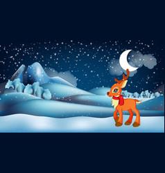 cute little cartoon deer wearing scarf in front vector image