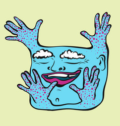 cute positive person with smile and four hands vector image