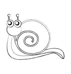 Cute snail comic character vector