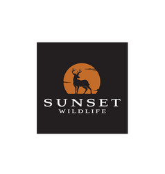 deer buck stag silhouette sunset wildlife logo vector image
