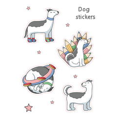 dog mood stickers cartoon images vector image