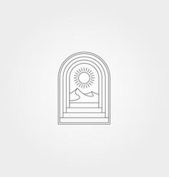 door icon logo design with line art mountain vector image