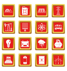 Energy sources items icons set red vector